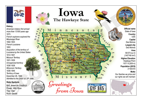 North America | U.S. Constituent - IOWA (MOTW US) x3pieces - top quality approved by www.postcardsmarket.com specialists
