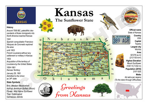 North America | U.S. Constituent - KANSAS (MOTW US) x3pieces - top quality approved by www.postcardsmarket.com specialists
