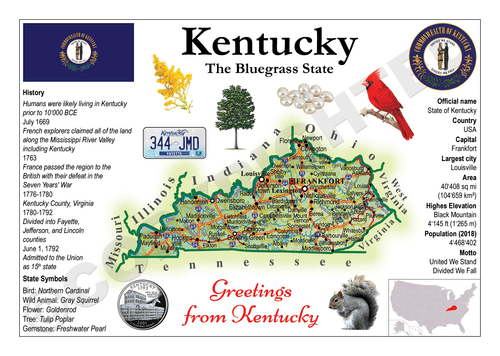 North America | U.S. Constituent - KENTUCKY (MOTW US) x3pieces - top quality approved by www.postcardsmarket.com specialists