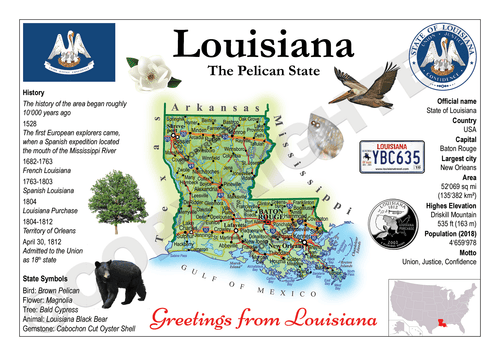 North America | U.S. Constituent - LOUISIANA (MOTW US) x3pieces - top quality approved by www.postcardsmarket.com specialists