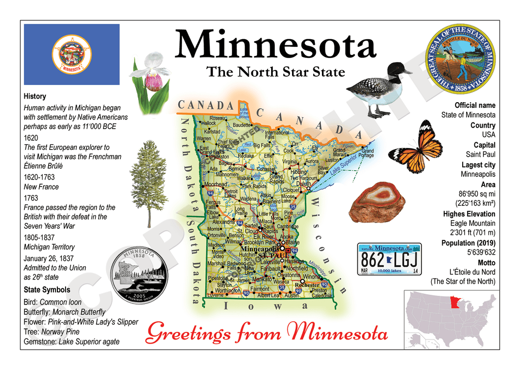 North America | U.S. Constituent - MINNESOTA (MOTW US) x3pieces - top quality approved by www.postcardsmarket.com specialists