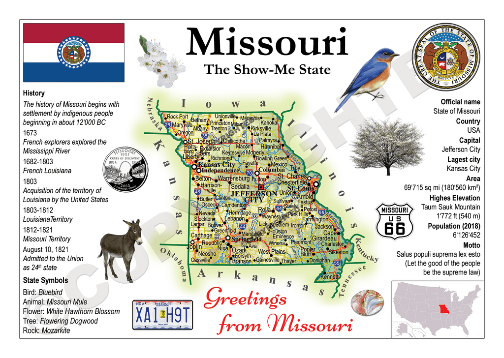 North America | U.S. Constituent - MISSOURI (MOTW US) x3pieces - top quality approved by www.postcardsmarket.com specialists