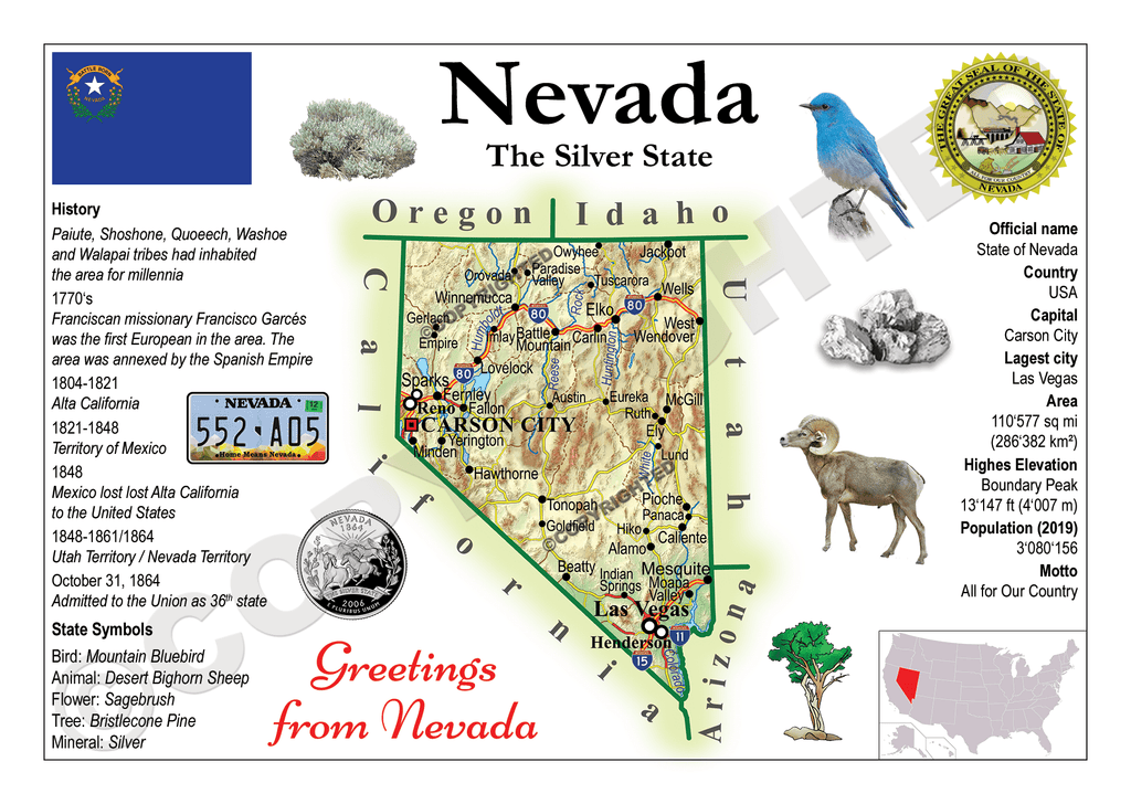 North America | U.S. Constituent - NEVADA (MOTW US) x3pieces - top quality approved by www.postcardsmarket.com specialists