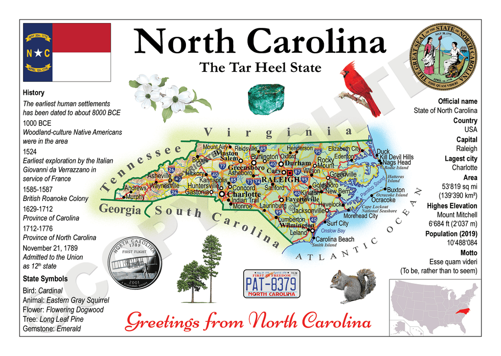 North America | U.S. Constituent - NORTH CAROLINA (MOTW US) x3pieces - top quality approved by www.postcardsmarket.com specialists