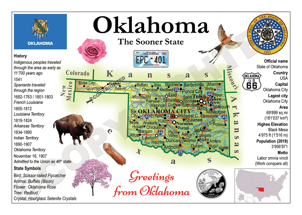 North America | U.S. Constituent - OKLAHOMA (MOTW US) x3pieces - top quality approved by www.postcardsmarket.com specialists