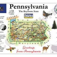 North America | U.S. Constituent - PENNSYLVANIA (MOTW US) x3pieces - top quality approved by www.postcardsmarket.com specialists