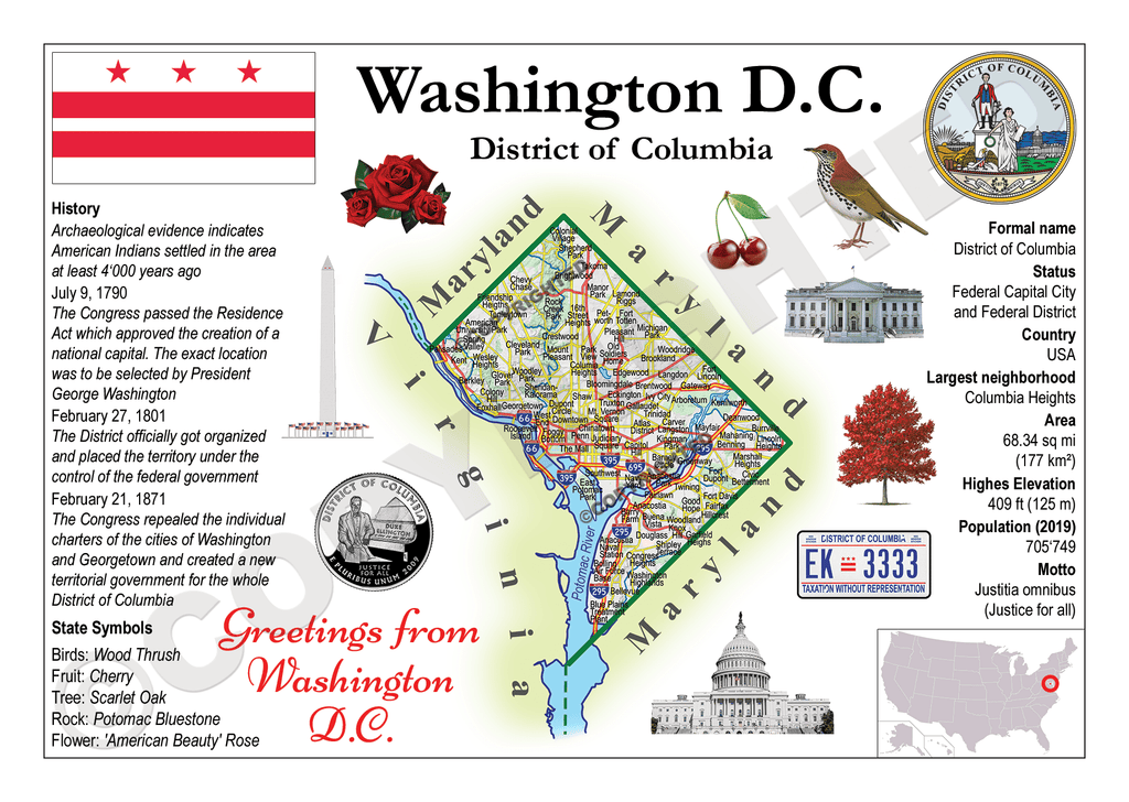 North America | U.S. Constituent - WASHINGTON D.C. (MOTW US) x3pieces - top quality approved by www.postcardsmarket.com specialists
