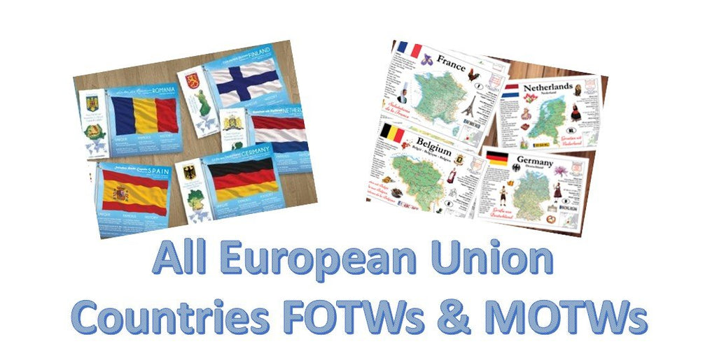 Collector's pack: All European Union constituent countries Flags and Maps - Bundle set 56 cards! - top quality approved by www.postcardsmarket.com specialists