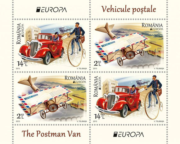 Stamps: 2013 The Postman Van - Souvenir sheet EUROPA 2013 - Romania MNH Stamps - Postcards Market