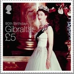 @2016 Queen Elizabeth II 90th Birthday - high value stamp only - Gibraltar stamps - top quality approved by www.postcardsmarket.com specialists