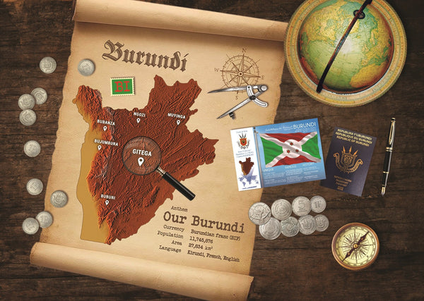 Burundi Map Postcard World Explorer PWE