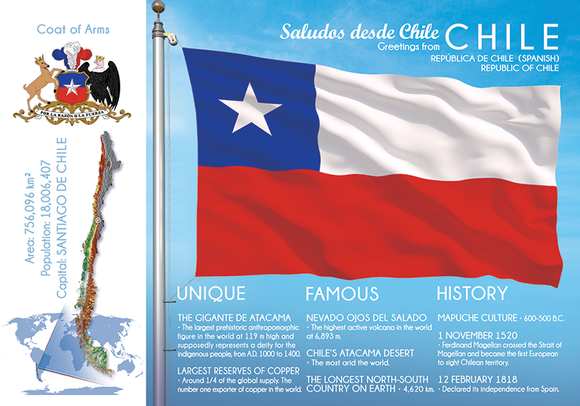 South America | CHILE - FW (country No. 62) - top quality approved by www.postcardsmarket.com specialists