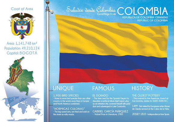 South America | COLOMBIA - FW (country No. 29) - top quality approved by www.postcardsmarket.com specialists