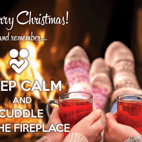 Photo: Keep calm and cuddle at the fireplace (bundle x 5 pieces) - top quality approved by www.postcardsmarket.com specialists