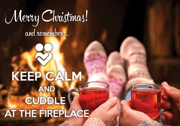 Photo: Keep calm and cuddle at the fireplace - Postcards Market