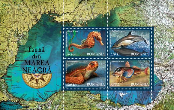 Stamps: 2007 Fauna from the Black Sea Souvenir sheet - Romania MNH Stamps - Postcards Market
