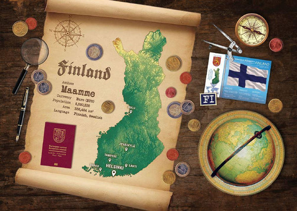 Finland Map Postcard World Explorer PWE
