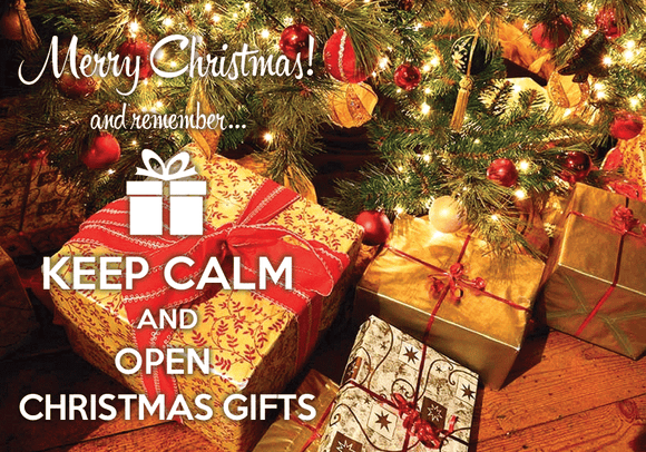 Photo: Keep calm and open Christmas gifts - Postcards Market