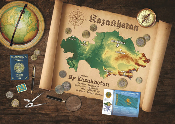 Kazakhstan Map Postcard World Explorer PWE - top quality approved by www.postcardsmarket.com specialists