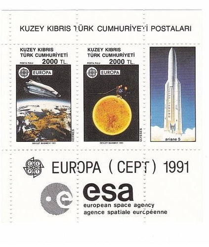 *Stamps | 1991 Kuzey Kibris Europa Cept 1991 European Space Agency - Souvenir Sheet -Turkish Cyprus MNH Stamps - top quality Stamps approved by www.postcardsmarket.com specialists