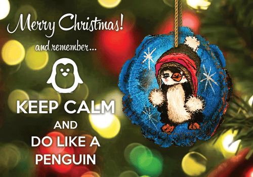 Photo: Keep calm and do like a penguin (bundle x 5 pieces) - top quality approved by www.postcardsmarket.com specialists