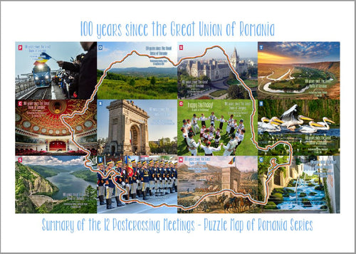 Photo Meeting: Romania puzzle 100 years celebration Bundle 13 Cards - top quality approved by www.postcardsmarket.com specialists