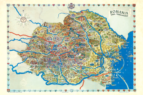 Romania Map - Tourism 1938