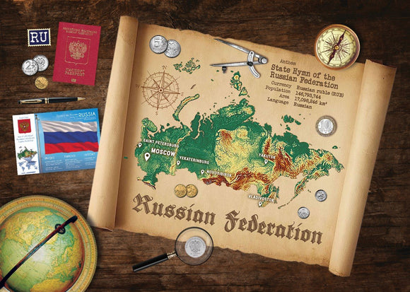 Russia Map Postcard World Explorer PWE - top quality approved by www.postcardsmarket.com specialists