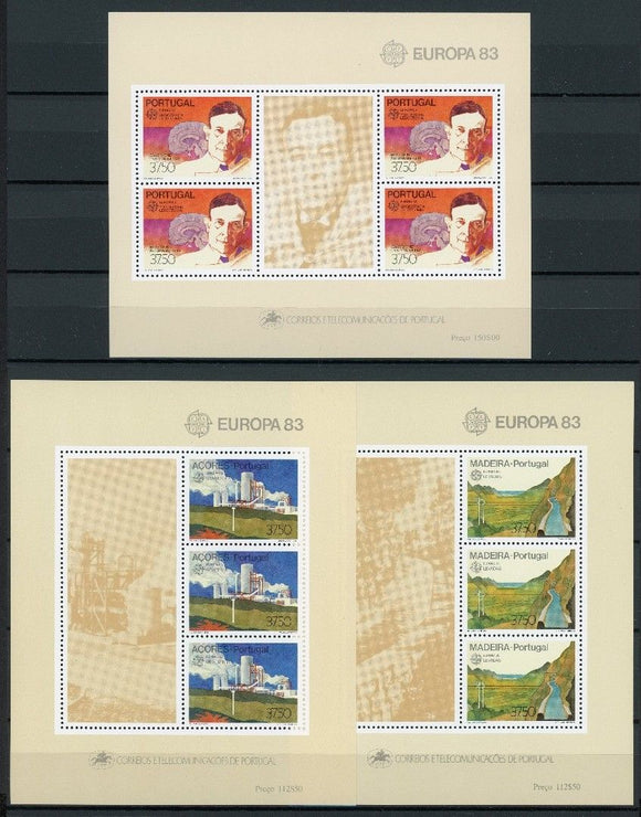Stamps Europa 1983 Portugal stamps Europa CEPT Souvenir Sheets (Portugal, Madeira, Azores) - www.postcardsmarket.com