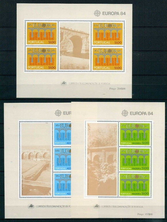 Stamps Europa 1984 Portugal stamps Europa CEPT Bridges Souvenir Sheets (Portugal, Madeira, Azores) - Postcards Market