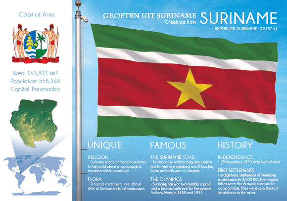 South America | SURINAME - FW (country No. 165) - top quality approved by www.postcardsmarket.com specialists