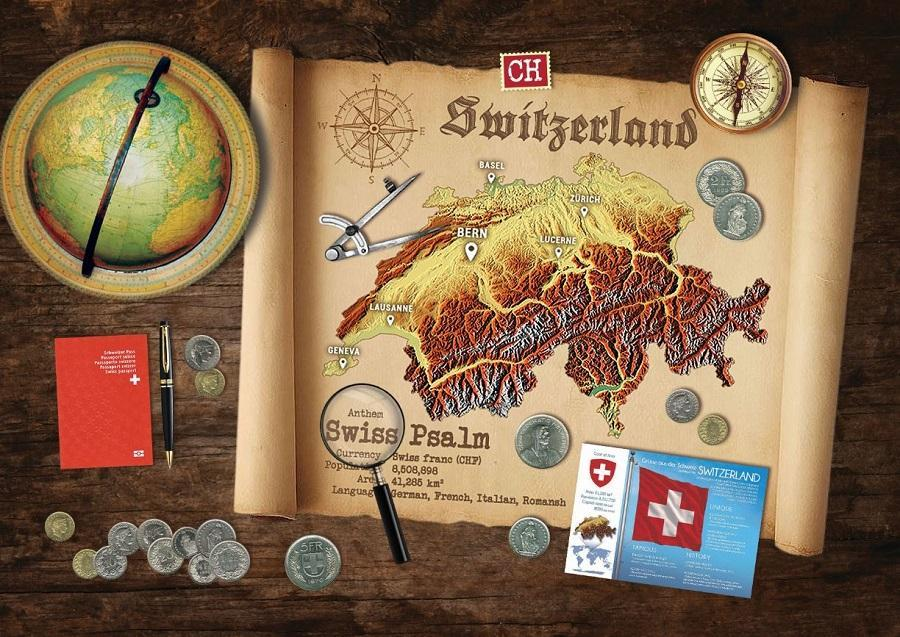Switzerland Map Postcard World Explorer PWE - top quality approved by www.postcardsmarket.com specialists