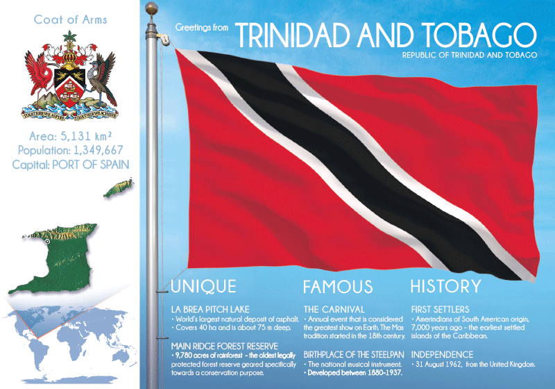 North America | TRINIDAD & TOBAGO - FW (country no. 151) - top quality approved by www.postcardsmarket.com specialists