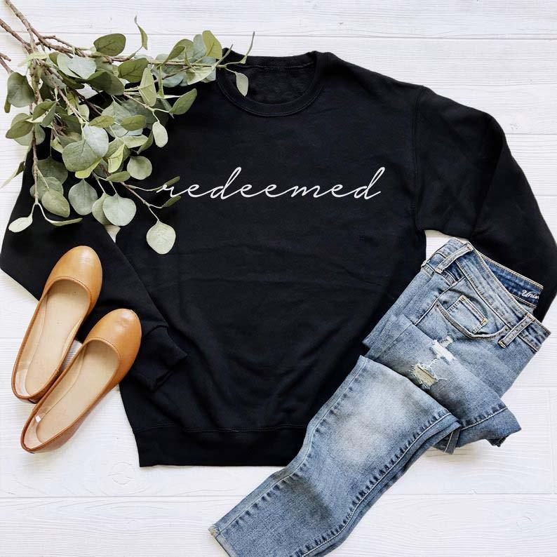 Black Redeemed Christian Sweatshirts - Heaven's Apparel, jesus sweatshirt