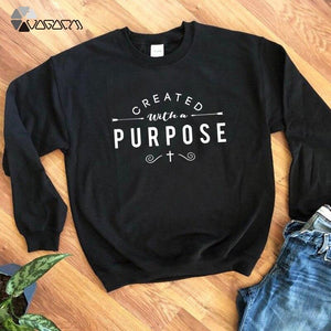 Created With A Purpose Christian Graphic Sweatshirt - Heaven's Apparel, jesus sweatshirt