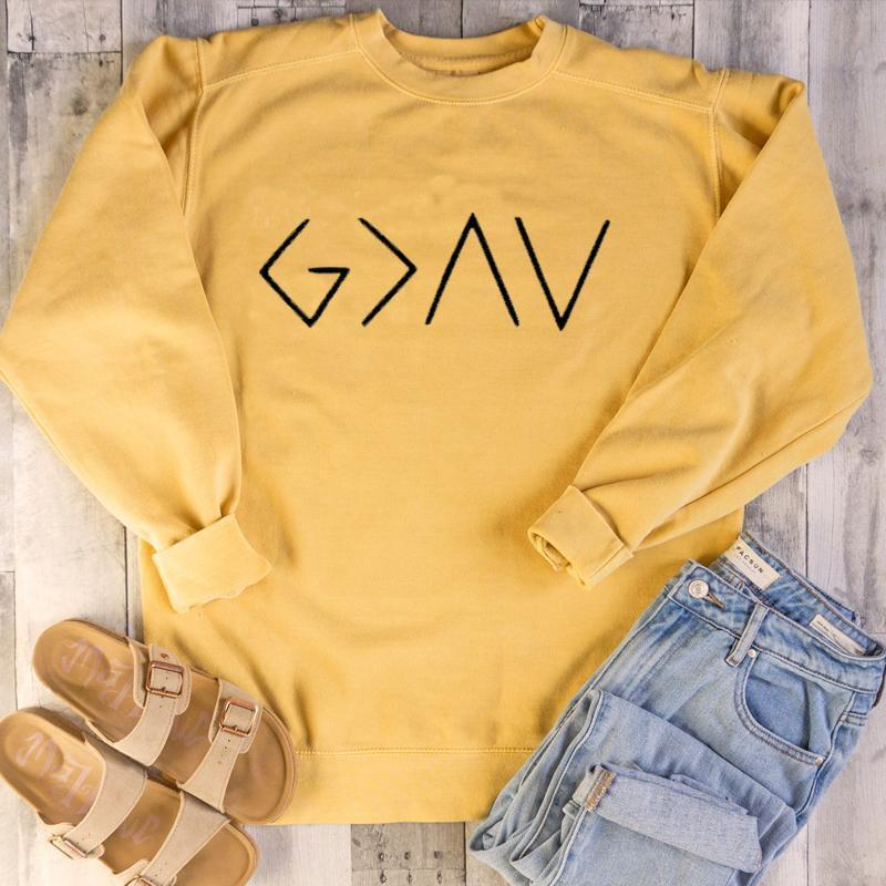 God Is Greater Than The Highs and Lows Christian Sweatshirts - Heaven's Apparel, jesus sweatshirt