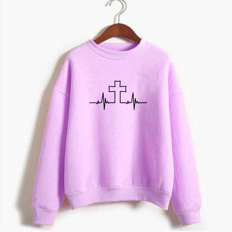 Jesus Heart Beat Cross Design Christian Sweatshirt - Heaven's Apparel, jesus sweatshirt