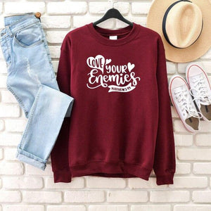 Love Your Enemies Matthew 5 4:4 Bible Verse Christian sweatshirt - Heaven's Apparel, jesus sweatshirt