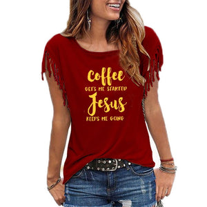 Coffee Gets Me Started Jesus T-Shirt | Heavens Apparel-Heaven's Apparel