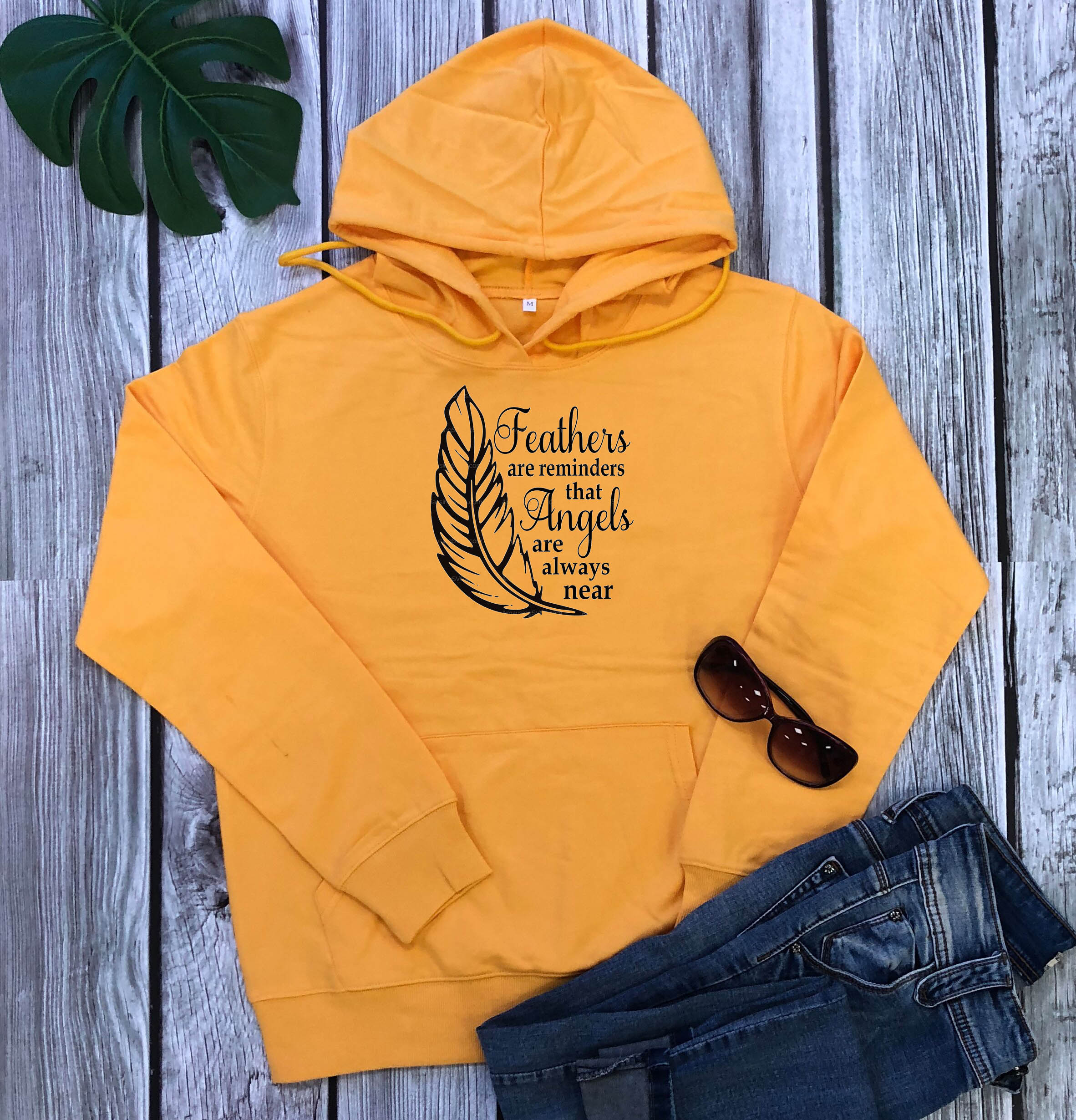 Feathers are reminders that Angels are always near Hoodie | Heavens Apparel