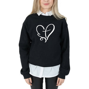 Heart Cross Sweatshirt | Heavens Apparel