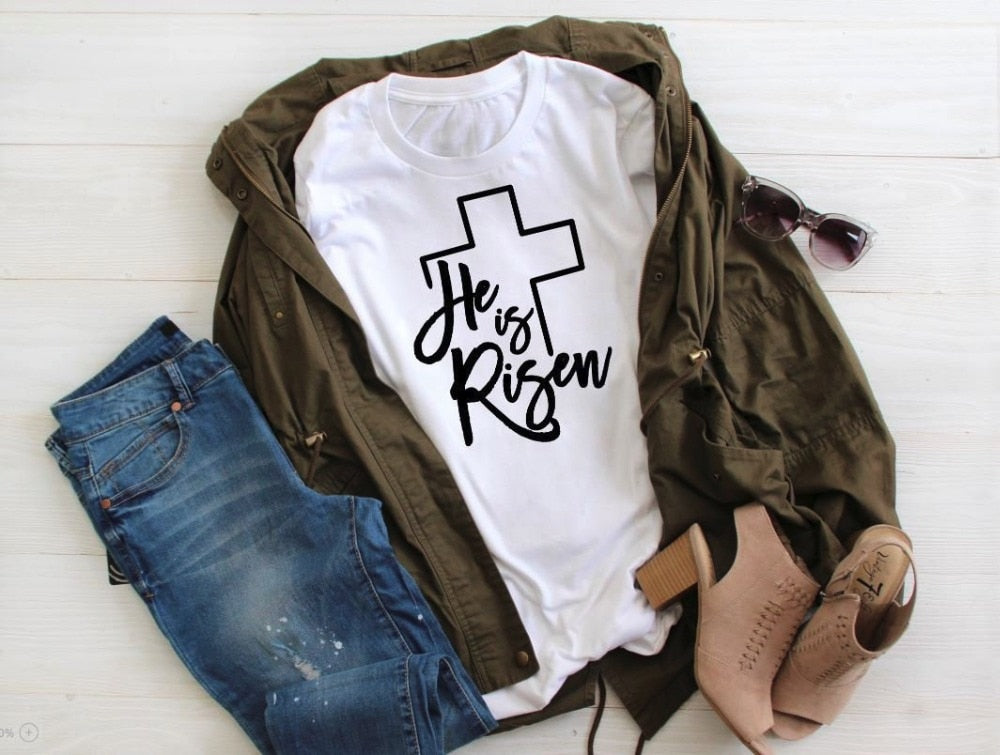 He is Risen Cross Christian T-Shirt