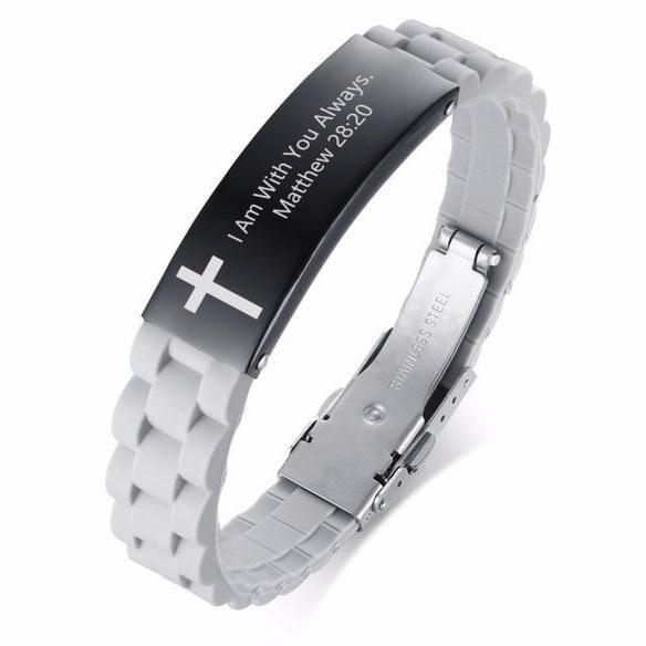 Stainless Steel Religious Quote Bracelet - Heaven's Apparel, christian jewelry
