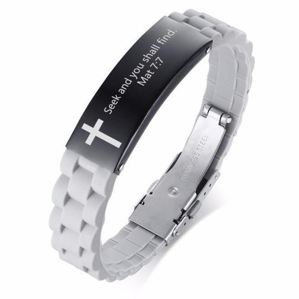 Stainless Steel Religious Quote Bracelet - Heaven's Apparel