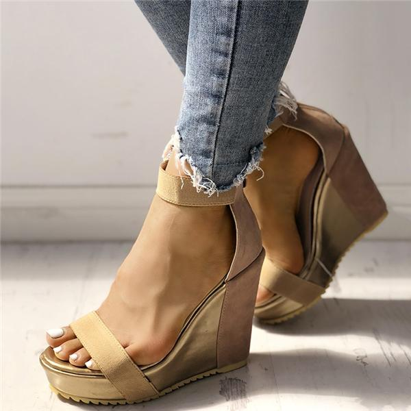 Cutelily Sexy Open Toe Back Zipper Wedges Sandals