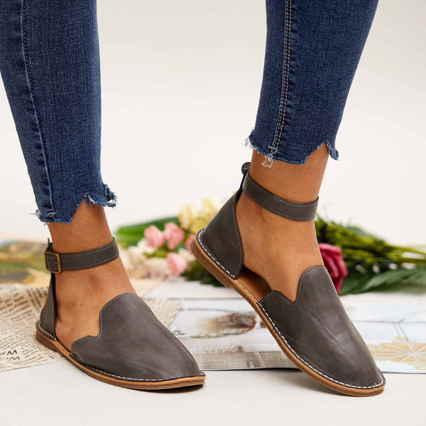 Cutelily Women Casual Slip On Ankle Buckle Flats (Ship in 24 hours)