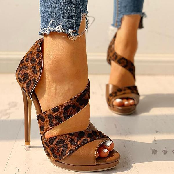Cutelily Suede Peep Toe Cut Out High Heels