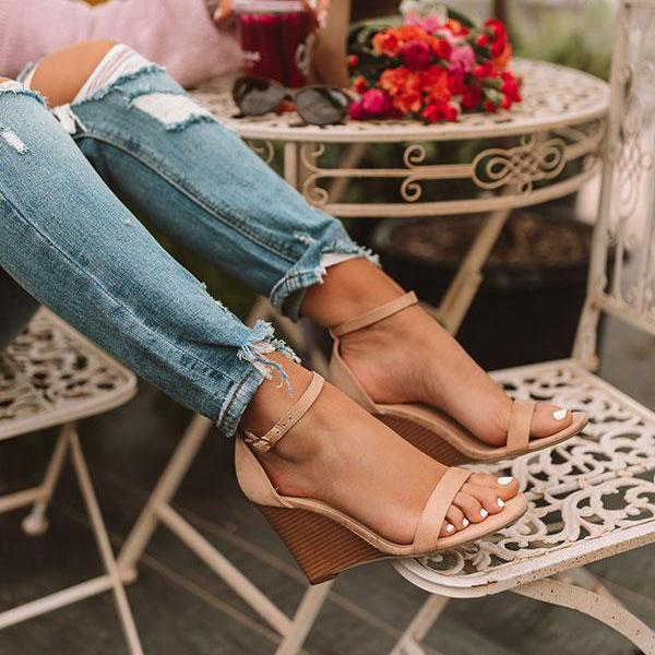 Cutelily Adjustable Buckle Wedges Heels