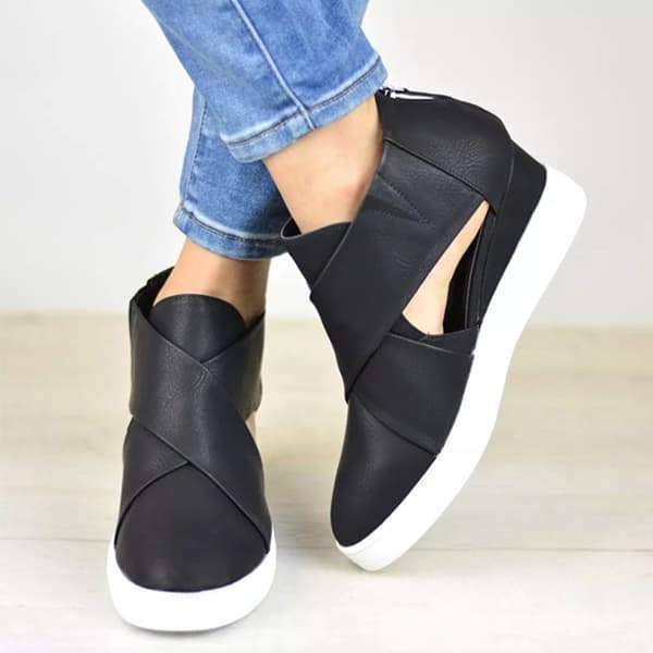 Cutelily Criss-cross Cut-out Wedge Sneakers