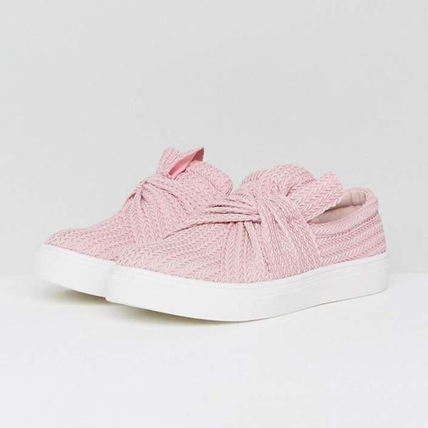 Cutelily Women Knitted Twist Slip On Sneakers
